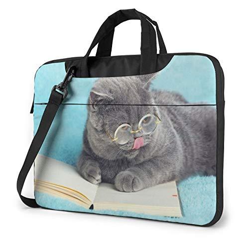 Funny Cat Reading Book Laptop Shoulder Messenger Bag,Laptop Shoulder Bag Carrying Case with Handle Laptop Case Laptop Briefcase 14 Inch Fits 13 inch Netbook/Laptop