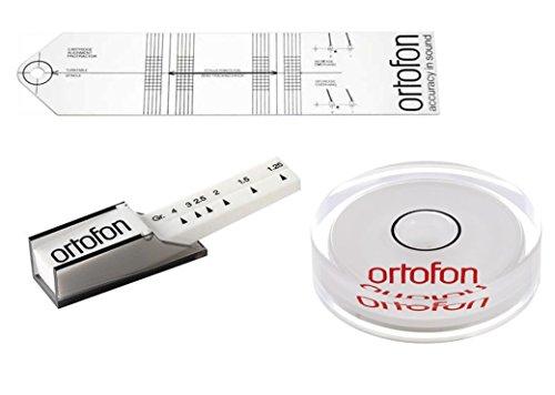 Ortofon Plattenspieler Justier- und Einstellungsset mit Ortofon Tonarmwaage, Ortofon Libelle und Ortofon SME Schablone