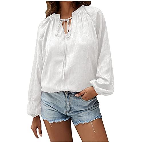 Camisa de Gasa con Manga de Linterna y Cuello en V de Color sólido para Mujer, Blusa Suelta con Cuello de Cuerda y Manga Larga