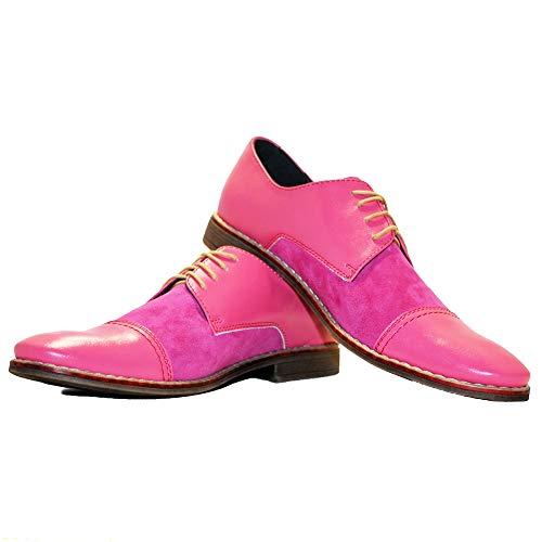Modello Arosso - EU 46 - US 13 - UK 12-30,8 cm - Cuero Italiano Hecho A Mano Hombre Piel Color Rosado Zapatos Vestir Oxfords - Cuero Ante - Encaje