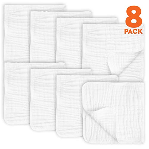 AllSett Baby 8 Pack Muslin Burp Cloths Large 20' by 10' 100% Cotton, Hand Wash Cloth 6 Layers Extra Absorbent and Soft