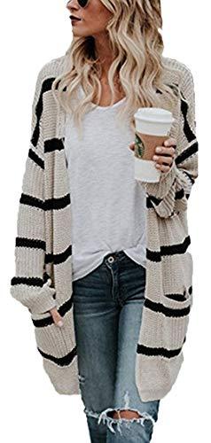 Socluer Strickjacke Damen Cardigan Freizeit Lang Blazer Pullover Mantel Jacke Elegant Strickpullover (Beige S)