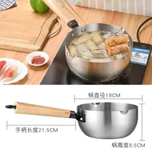 PJY Melk Pan Sneeuw Pan RVS Dikke Noodle Pot Vis Maaltijd Kruidige Hot Pot Melk Pan Frying Pan,18cm met net