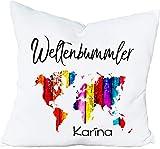 Cadouri Kissen WELTENBUMMLER - personalisiert mit Wunschname - Dekokissen Kuschelkissen  flauschig...