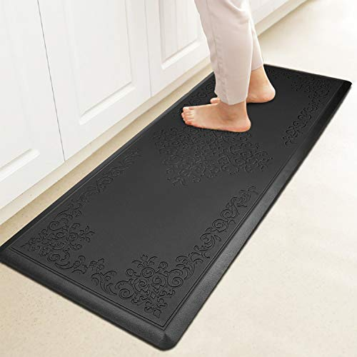 HEBE Kitchen Mat Cushioned Anti-Fatigue Floor Mat Runner Waterproof Non-Slip Standing Mat Ergonomic Comfort Floor Mat Rug Runner for Office,Sink,Laundry,Desk(20'x52',Black)