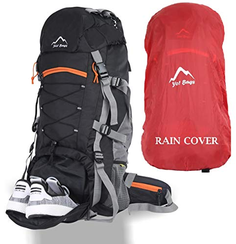 YOI Yo! Bag Hiking Bag For Men 65 Litres Rucksack Travel Backpack For Adventure Camping Trekking Bag With Rain Cover & Shoes Compartment