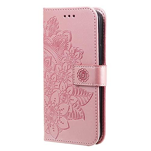 Funda de protección para Motorola Moto Edge 20 Pro, funda de piel con 7 pétalos en relieve, diseño de flores, color rosa