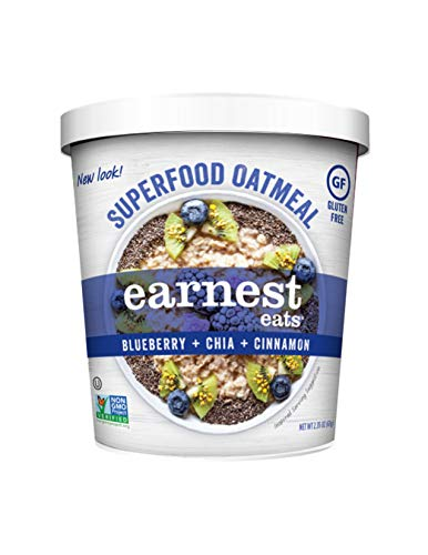 Earnest Eats Gluten-Free Superfood Oatmeal, Quinoa, Oats & Amaranth, Vegan, Healthy Snack, Blueberry Chia, 2.35oz Cup, 12-Pack