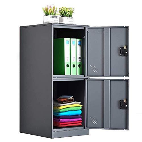 MECOLOR Armario pequeño vertical de un solo nivel con cierre de candado, 2 o 3 compartimentos de almacenamiento para empleados, hogar, oficina, escuela, niños (blanco completo, P2V) (gris, P2V)