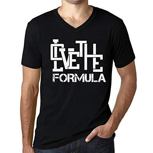 Hombre Camiseta Vintage Cuello V T-Shirt Gráfico Love The Formula Negro Profundo Texto Blanco