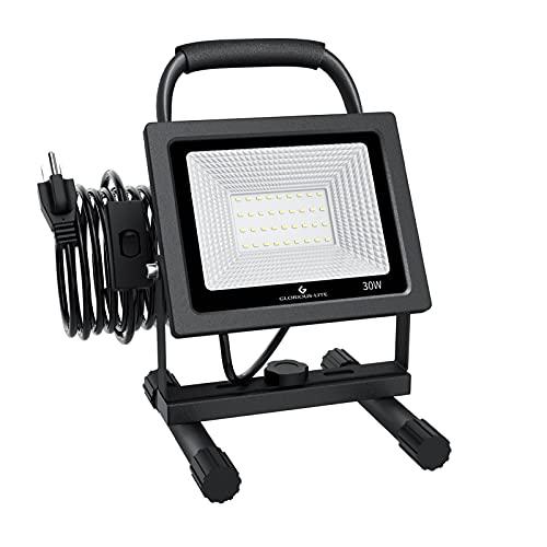 GLORIOUS-LITE 30W LED Work Light, 3000LM LED Flood Lights, 240W Equivalent, IP66 Waterproof, 16ft/5m Cord with Plug, 6500K, Adjustable Working Lights for Workshop Garage, Construction Site