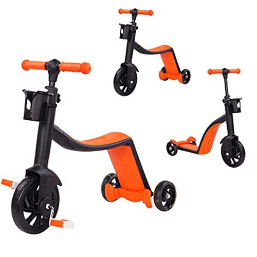 Patinetes Acrobacias para Ninos Ninas Multifuncional De Tres Ruedas 3 En 1 Puede Sentarse,Orange