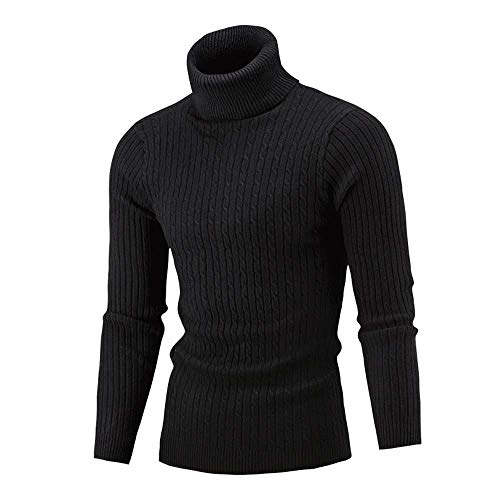 Men's Turtleneck Sweater Pullover Thick Twist Knit Base Shirt Slim Warm Knit High Neck Jumper Top Blouse M-5XL