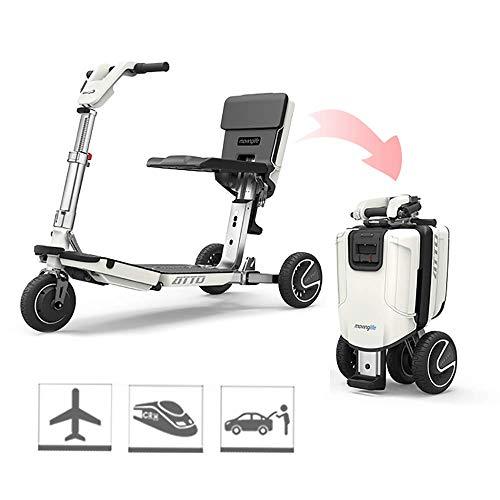 JLWDD Elektrische scooter voor volwassenen met 3 wielen, wit, automatische inklapbaar, 24 V 8.8 amph, 25 km/u, 35 km bereik, opladen voor 4 uur, maximale belasting 150 kg