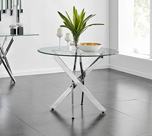 Novara Chrome Metal Round Glass Dining Table And 4 Modern Lorenzo Dining Chairs (Dining Table Only)