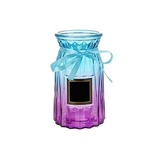 Tingting1992 Jarrón Jarrón Colorido de Cristal de Cristal, decoración para el hogar, Comedor, Mesa de Oficina, Fiesta de Bodas, 7 Pulgadas h para Oficina en casa (Color : B)
