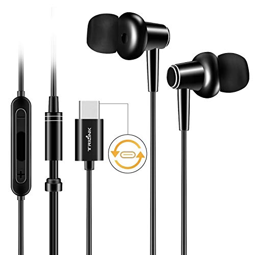 USB tipo C Auriculares de botón para Huawei Mate 30/20/10/Pro/RS/X, P30/P20/Pro, Xiaomi Redmi Note 7/Note 6 Pro/7/6A, Mi A3/A2/A1/8 Lite/8/8 SE/9T/9/9/Pro/9 SE/CC9/K20 Pro/Max/Mix - Auriculares In-Ear