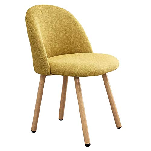 DALL Dining Chairs Carbon Steel Bracket Back Support Table Chair Coffee Chair Upholstered Reception Chair Easy To Assemble (Color : Yellow)