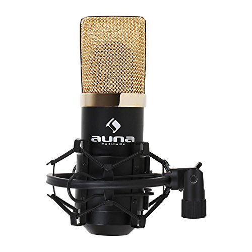 AUNA MIC 900 - Microfono a Condensatore, Struttura a Rene, da Studio, Incluso Ragno per Microfono, Plug & Play per Windows e Mac, Cavo USB e Borsa, USB, Nero-Oro