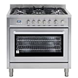 Cosmo COS-965AGFC 36 in. 3.8 cu. ft. Single Oven Gas Range with 5 Burner Cooktop and Heavy Duty Cast Iron...