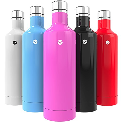 Vremi 16 Ounce Stainless Steel Water Bottle - Double Walled Vacuum Insulated Metal Water Bottle Travel or Gym BPA Free with Leak Proof Lid - Keeps Drinks Hot or Cold Fits Standard Cup Holders - Pink