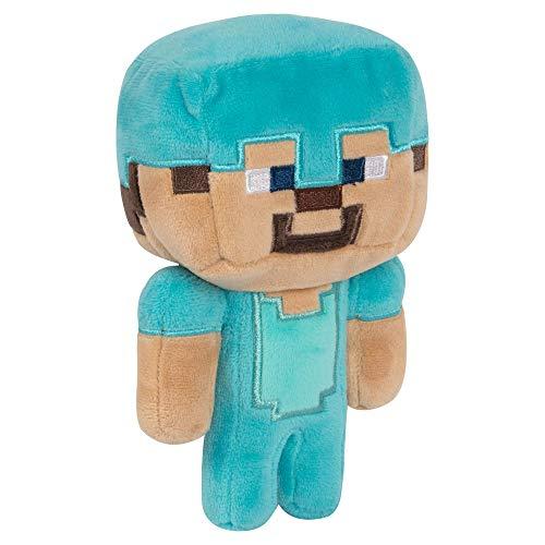 "JINX Minecraft Happy Explorer Diamond Steve Plush Stuffed Toy, Multi-Colored, 7"" Tall"