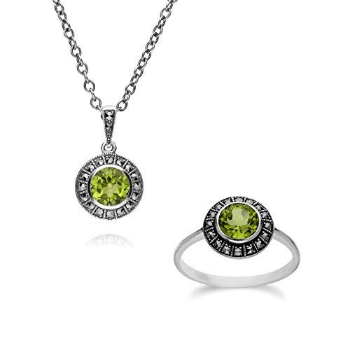 Gemondo - Anello in argento sterling con peridoto rotondo e marcasite e collana da 45 cm