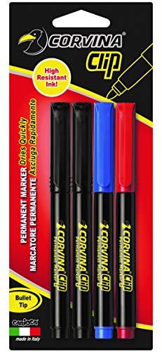 Corvina Clip - Pack de 4 marcadores permanentes, multicolor