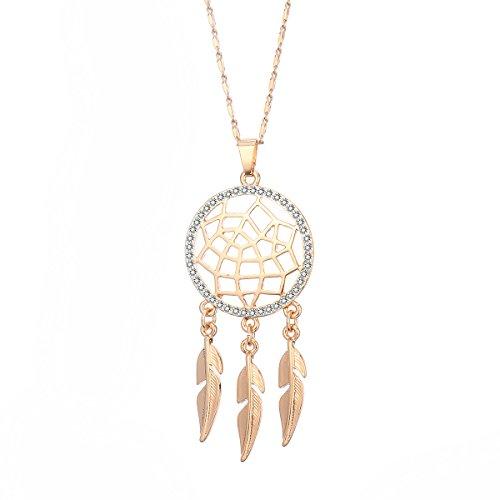 Ouran Fashion Choker Halskette für Frauen, Traumfänger Anhänger Halskette für Mädchen Lange Halskette Glänzende CZ Kristall Anhänger Halskette (Vergoldet)