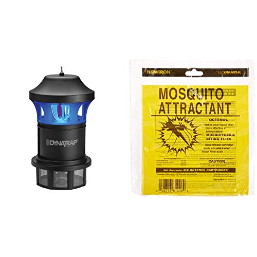 DynaTrap DT1775 1 Acre XL Mosquito and Insect Trap with AtraktaGlo Light - Black & Flowtron MA-1000-6 Octenol Mosquito Attractant Cartridges, 6-Pack