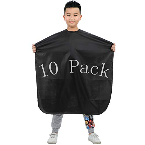 10 Pack Bqueen Kids Haircut Professional Hair Salon Nylon Barber Cape Hair Cutting Barber Hairdressing Cape Smock Cover Cloth for Toddler Waterproof Hairdresser Salon Cape for Children (10 Pack)