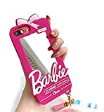 Easierforyou Shipped from USA Barbie Cute Girl Mirror Make up with Chain Charm Case Compatible for iPhone 6 Plus 7 Plus 8 Plus Cartoon 3D Cute Soft Silicone Rubber Protective Gel Back Cover
