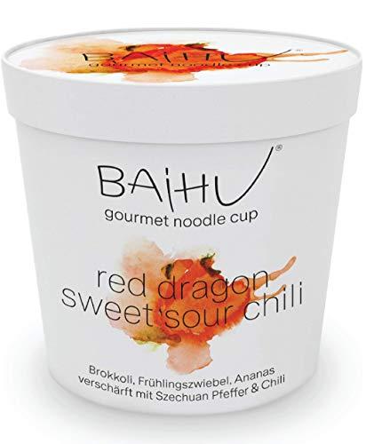 BAIHU Instant Nudeln | vegetarisch | vegan | schnelle Zubereitung (Sweet Sour Chili Nudelsuppe, 6 Cups) 6 x 152g