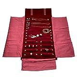 UnionPlus, portagioie da viaggio arrotolabile per organizzare bracciali, collane e orecchini, anelli, colore: bordeaux Large Burgundy