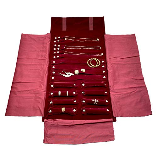 UnionPlus Velet Travel Jewelry Case Roll Bag Organizer for Necklace Bracelet Earrings Ring, Burgundy (Large Burgundy)