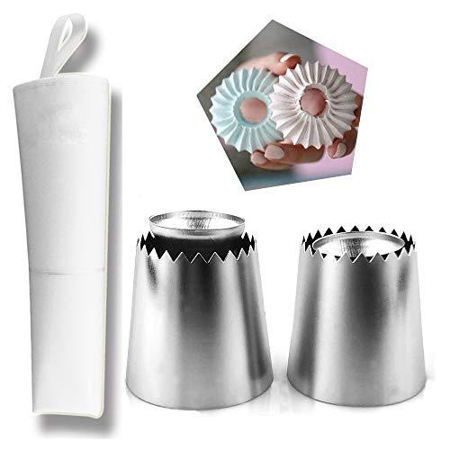Gracelaza - Set di punte per pasticceria, ideale per torte e biscotti #3, acciaio, 2