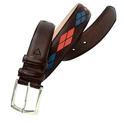Leyva - Cinturón de piel de Vaquetilla de hombre (90 cm)