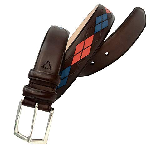Leyva - Cinturón de piel de Vaquetilla de hombre (85 cm)