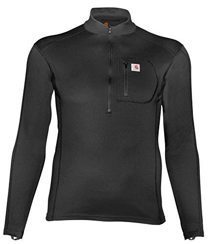 Carhartt Men's Size Force Tech Quarter-Zip Thermal Base Layer Long Sleeve Shirt, Black, 3X-Large Tall