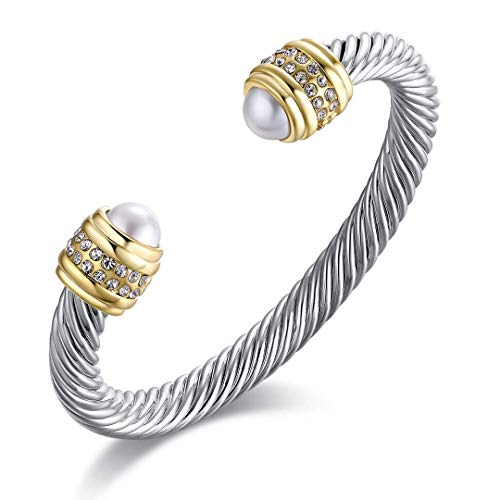 Twisted Cable Bracelet with Composite Shell Pearl Antique Cuff Bracelets for Women, Style 2