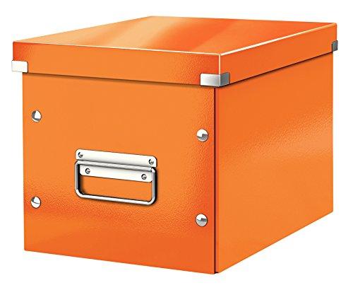 Leitz Caja de almacenaje cúbica, Tamaño mediano, Naranja, Click & Store, 61090044
