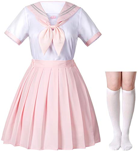 Japanese School Girls JK Uniform Sailor White Pink Pleated Skirt Anime Cosplay Costumes with High Socks Set(SSF36) S(Tag M)