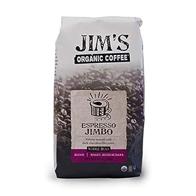 Jim's Organic Coffee Espresso Jimbo, Medium Dark Roast, Whole Bean, 11 Ounce