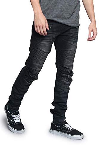 Victorious Men's Artisanal Creased Ribbed Thigh Layered Knee Moto Biker Denim Jeans DL1083 - Spider Black - 30/30 - V7C