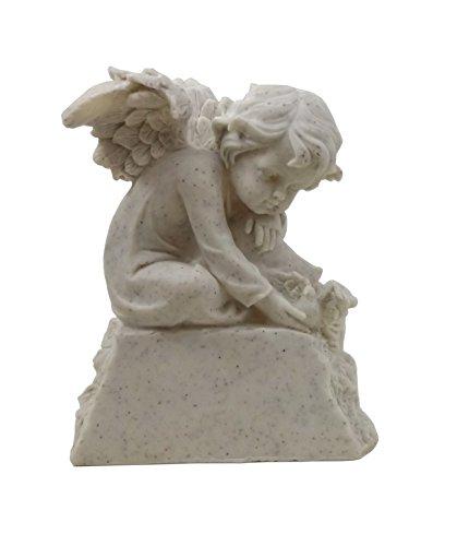 Klp Grabschmuck Engel auf Stein Sockel Gedenkstein Grabstein Grab Deko Figur Vogel