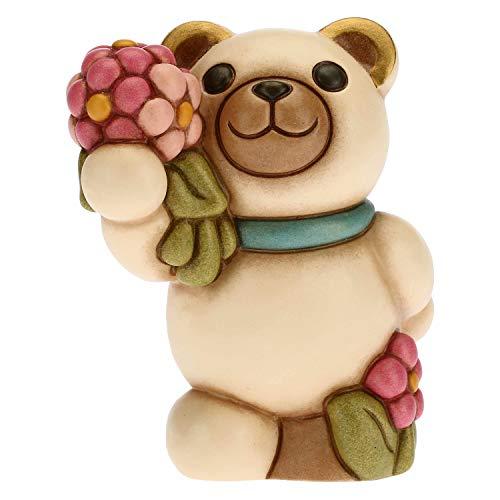 THUN - Teddy Primavera con Mazzo di Fiori - Living, Icone - Idea Regalo - Linea Teddy Primavera - Ceramica - Formato Piccolo - 7,8x7,9x9,5 h cm