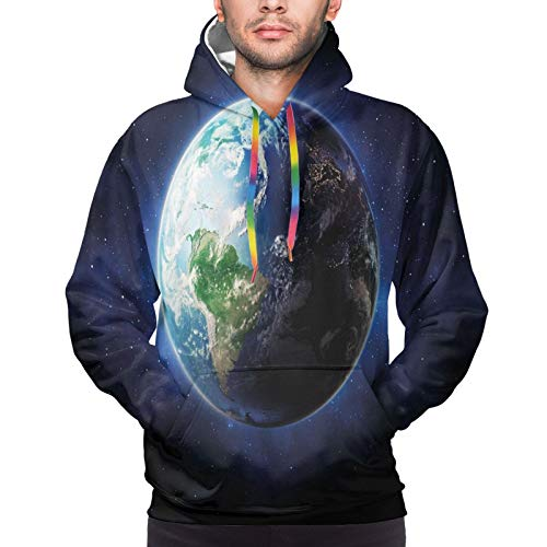 Men's Hoodies Sweatshirts,Starry Outer Space View with Planet Earth Calm Silent Universe Galaxy,Medium