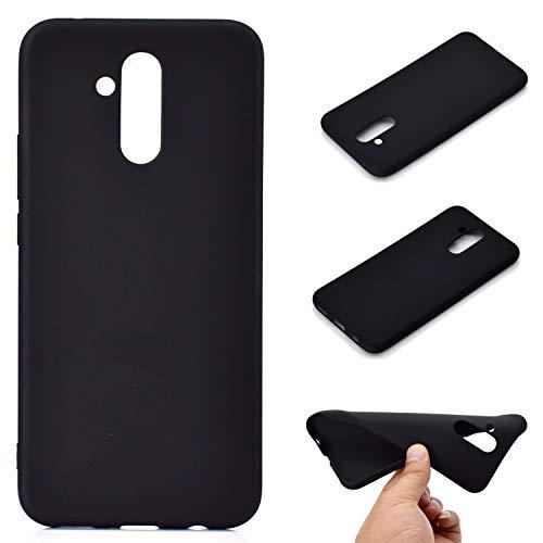 LeviDo Coque Compatible pour Huawei Mate 20 Lite Étui Silicone Souple Bumper Antichoc TPU Gel Ultra Fine Mince Caoutchouc Bonbons Couleurs Design Etui Cover, Noir