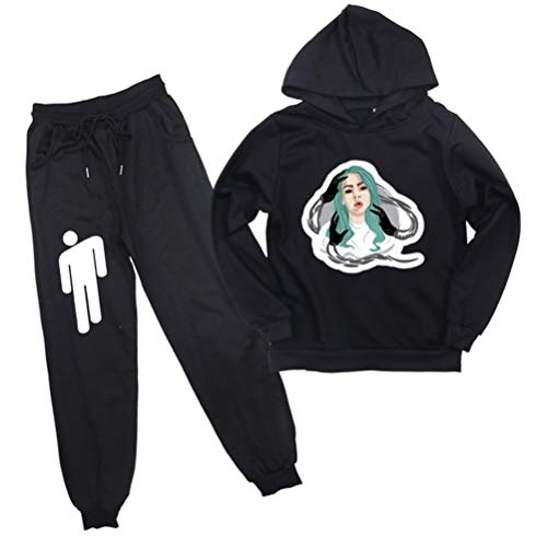 PandaOne Jungen Billie Eilish Langarm Hoodie Hose Kleidung Outfits Set Sport Set Sportwear (90,Black 11)