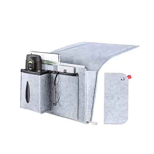 Lisiting Bedside Storage Pocket Felt Hanging Organizer Bag, Magazine Phone Remote Holder for Home Bed Rails, Sofa, Bunk Beds - Gray